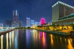 Cityscape of Yokohama city at night. Japan Stock Images
