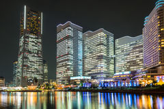 Cityscape of Yokohama city at night Stock Photo