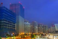 Cityscape of Yokohama city at night Stock Photos