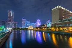Cityscape of Yokohama city at night Royalty Free Stock Images