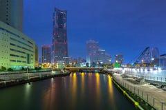 Cityscape of Yokohama city at night. Japan Stock Photo