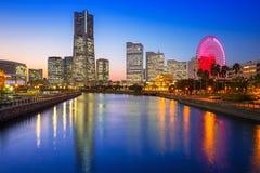 Cityscape of Yokohama city at sunset Royalty Free Stock Photo