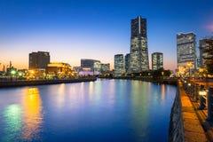Cityscape of Yokohama at night Stock Photos
