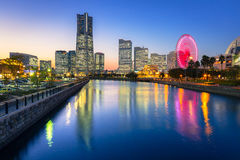 Cityscape of Yokohama at night Stock Photo