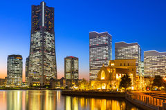 Cityscape of Yokohama at night Royalty Free Stock Photos