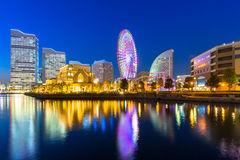 Cityscape of Yokohama at night Stock Images