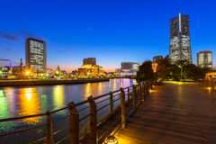 Cityscape of Yokohama at night Royalty Free Stock Images