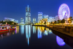Cityscape of Yokohama at night Royalty Free Stock Photo