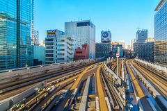 Cityscape from Yurikamome monorail sky train in Odaiba in Tokyo Royalty Free Stock Photography