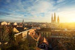 Cityscape of Zagreb, Croatia. Morning view of old Zagreb. Croatia Royalty Free Stock Photo