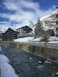 Cityscape Zermatt with Matterhorn and Mattervispa river royalty free stock photography