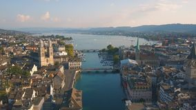 Aerial view of Zurich. Cityscape of Zurich, the biggest city in Switzerland. Aerial view stock video footage