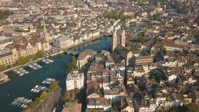 Cityscape of Zurich. The biggest city in Switzerland. Aerial view stock footage