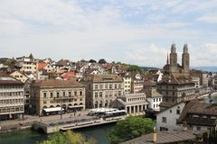 Cityscape of Zurich and river Limmat, Switzerland. View of Zurich city center and river Limmat, Switzerland Stock Images