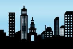 Cityscape zwart architecturaal de bouwpictogram de vlakke stijl van het ontwerpsilhouet op blauwe achtergrondillustratievector stock illustratie