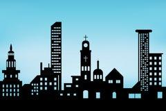 Cityscape zwart architecturaal de bouwpictogram de vlakke stijl van het ontwerpsilhouet op blauwe achtergrondillustratievector vector illustratie