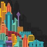 Cityscapebakgrund med byggnader Arkivbild