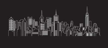 Cityscapebyggnadslinje design för konstvektorillustration Arkivbilder