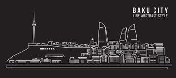Cityscapebyggnadslinje design för konstvektorillustration - Baku City vektor illustrationer