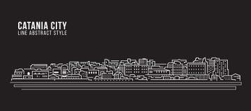 Cityscapebyggnadslinje design för konstvektorillustration - Catania stad Royaltyfri Fotografi