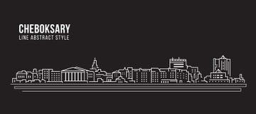 Cityscapebyggnadslinje design för konstvektorillustration - Cheboksary stad Arkivfoto