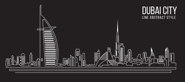 Cityscapebyggnadslinje design för konstvektorillustration (den Dubai staden) Arkivfoton