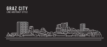 Cityscapebyggnadslinje design för konstvektorillustration - Graz stad stock illustrationer