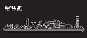 Cityscapebyggnadslinje design för konstvektorillustration - Guayaquil stad vektor illustrationer