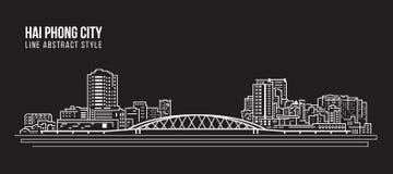 Cityscapebyggnadslinje design för konstvektorillustration - Hai phongstad Royaltyfria Bilder