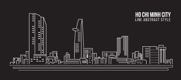Cityscapebyggnadslinje design för konstvektorillustration - Ho Chi Minh stad stock illustrationer