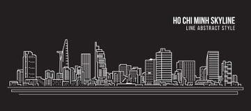 Cityscapebyggnadslinje design för konstvektorillustration - Ho Chi Minh stad royaltyfri illustrationer