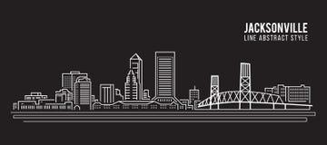 Cityscapebyggnadslinje design för konstvektorillustration - jacksonville stad Arkivbild