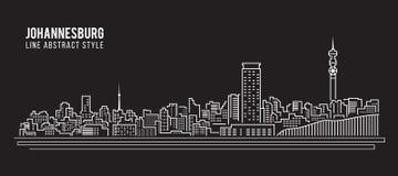 Cityscapebyggnadslinje design för konstvektorillustration - Johannesburg stad