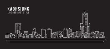 Cityscapebyggnadslinje design för konstvektorillustration - Kaohsiung stad royaltyfri illustrationer