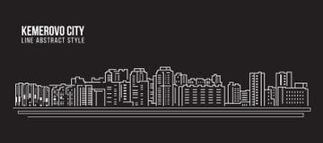 Cityscapebyggnadslinje design för konstvektorillustration - Kemerovo stad Arkivbilder