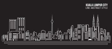 Cityscapebyggnadslinje design för konstvektorillustration - Kuala Lumpur stad Royaltyfri Foto
