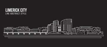 Cityscapebyggnadslinje design för konstvektorillustration - limerickstad Arkivfoton