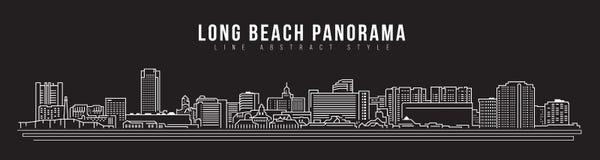 Cityscapebyggnadslinje design för konstvektorillustration - Long Beach stadspanorama Arkivfoton