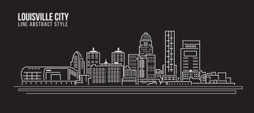 Cityscapebyggnadslinje design för konstvektorillustration - Louisville stad vektor illustrationer