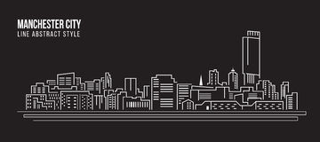 Cityscapebyggnadslinje design för konstvektorillustration - Manchester City Fotografering för Bildbyråer