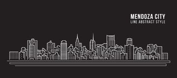 Cityscapebyggnadslinje design för konstvektorillustration - Mendoza stad vektor illustrationer