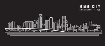 Cityscapebyggnadslinje design för konstvektorillustration - Miami stad Fotografering för Bildbyråer