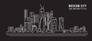 Cityscapebyggnadslinje design för konstvektorillustration - moscow stad vektor illustrationer