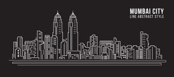 Cityscapebyggnadslinje design för konstvektorillustration - mumbai stad stock illustrationer