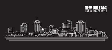 Cityscapebyggnadslinje design för konstvektorillustration - New Orleans stad Arkivfoton