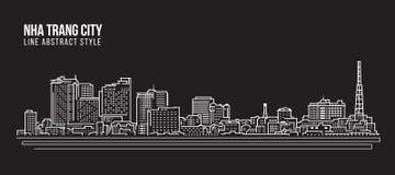 Cityscapebyggnadslinje design för konstvektorillustration - Nha_Trang_city Arkivbilder