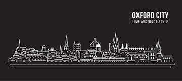 Cityscapebyggnadslinje design för konstvektorillustration - Oxford stad royaltyfri illustrationer
