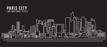 Cityscapebyggnadslinje design för konstvektorillustration - Paris stad Arkivbild