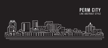 Cityscapebyggnadslinje design för konstvektorillustration - permanentstad Arkivbild