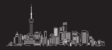 Cityscapebyggnadslinje design för konstvektorillustration (porslinet) Arkivbilder